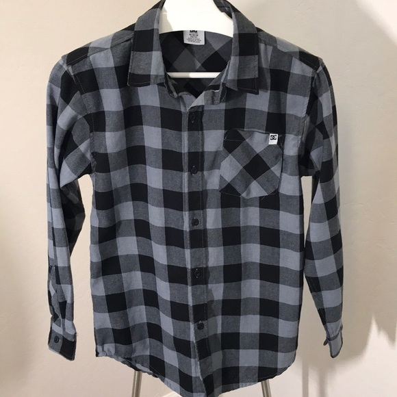 8fa92474a DC Shirts & Tops | Lightweight Boys Flannel Blackgrey Shirt | Poshmark